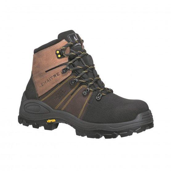 MARRON - Chaussure haute de sécurité S3 professionnelle de travail en cuir ISO EN 20345 S3 mixte manutention artisan transport c