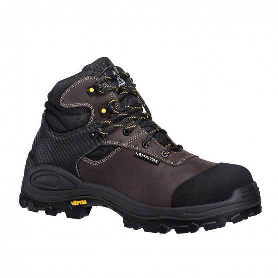 MARRON - Chaussure haute de sécurité S3 professionnelle de travail en cuir ISO EN 20345 S3 mixte transport chantier manutention