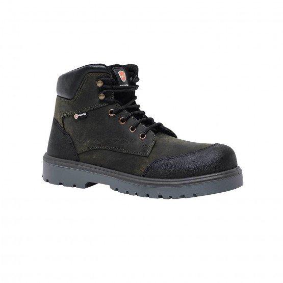 MARRON - Chaussure haute de sécurité S3 professionnelle de travail en cuir ISO EN 20345 S3 homme chantier menage artisan entreti
