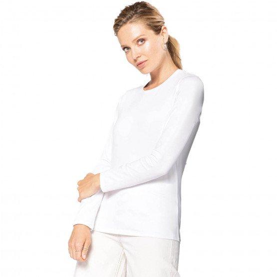 BLANC - Tee-shirt professionnelle de travail à manches longues femme aide a domicile infirmier auxiliaire de vie médical