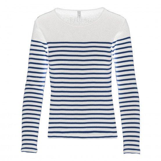 BLANC/MARINE - Tee-shirt professionnelle de travail à manches longues 100% coton femme transport auxiliaire de vie foyer coiffeu